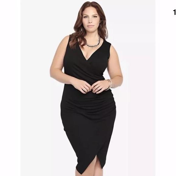 NEW Torrid Black Ruched Bodycon Ponte Knit Dress NWT